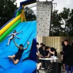 DJ, rock climbing, slide, fun fair
